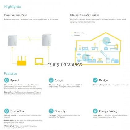 TP-Link TL-PA4010 KIT AV600 Nano Powerline Ethernet Adapter Starter Kit