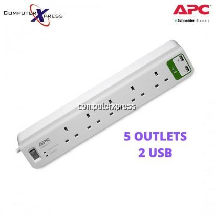 APC Essential SurgeArrest 5 outlets socket with 5V, 2.4A 2 port USB Charger 230V UK (PM5U-UK)