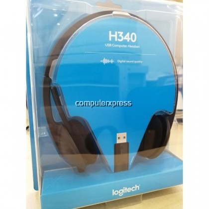 LOGITECH H340 USB COMPUTER HEADSET HEADPHONE WITH NOISE-CANCELING MICROPHONE