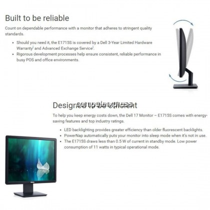 "DELL E1715S 17"" HD LED-BACKLIT LCD MONITOR 1280 X 1024 (210-ALYU)"