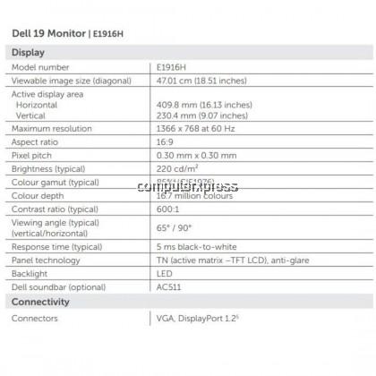 "DELL E1916HV 19"" TFT LCD HD LED MONITOR-3YW (210 AMJU)"