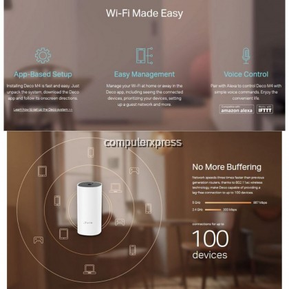 TP-Link Deco M4(2 pack) AC1200 Whole Home Mesh Wi-Fi System Deco M4
