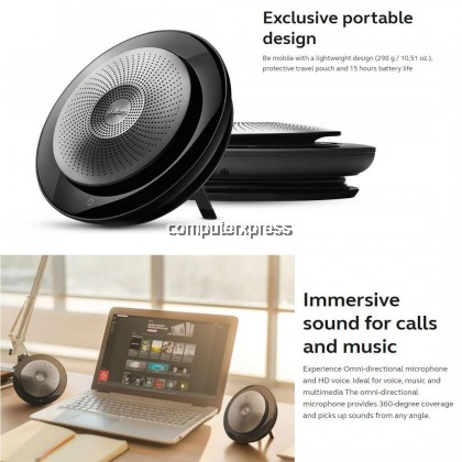 JABRA SPEAK 710 Wireless Bluetooth Speaker & Speakerphone for Softphone and Mobile Phone + Link 370 Dongle