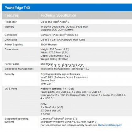 Dell PowerEdge T40 Tower Server (T40-E-2224G-8GB-1TB)